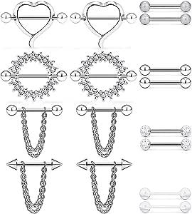 VF VFUN 6 Pairs Piercing Capezzolo 14G Acciaio Inossidabile Piercing Shield Capezzolo Chain Dangle Piercing Septum Helix Piercing Cartilagine Gioielli per Body Piercing Donna Ragazze