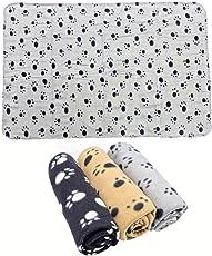 JZK 3 x Super Softe Warmes Hundedecke Katzendecke Fleecedecke schlafplatz mit Pfoten Muster für Katze Hund Tier Haustier