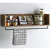 Rustic Kitchen Wood Wall Shelf with Metal Rail Also Multi Use Can Be Used As a Spice Rack Living Room or Bedroom Wall Shelf
