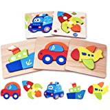 Highttoy Wooden Blocks Jigsaws for 1-3 Year Olds,5 Pcs Wooden Jigsaw Puzzles for Toddlers Kids Age 2-4 Traffic Vehicle Shape