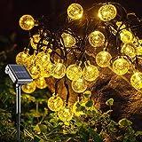 SUNACE Guirnalda Luces Exterior Solares – 10.85M 60LED Solar Luces Decorativas 8 Modos Impermeable Solar Bola de Cristal Luz