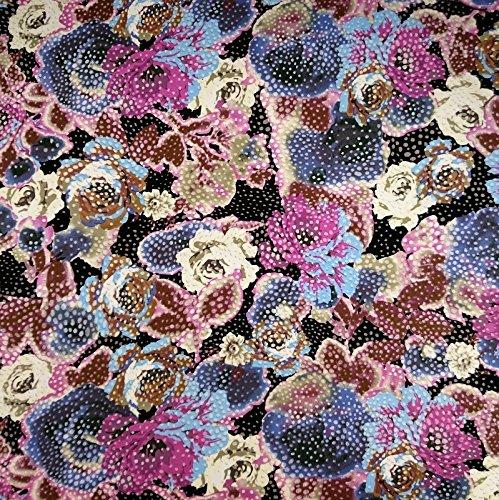 Jersey Stoff Viskose wilde Blumen Tupfen Damenstoff Modestoff - Preis gilt für 0,5 Meter - (Stretch-stoff-pflege Top)