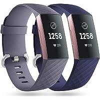 Faliogo 2 Stück Ersatzriemen Kompatibel mit Fitbit Charge 4 Armband/Fitbit Charge 3 Armband, Weiches Sports Uhrenarmband…