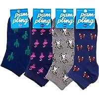 Pack 4 Paires de Chaussettes Courtes Originales - Cactus, On Road, Flamingo, Dabbing Unicorn