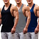 COOFANDY Men's Gym Tops Pack of 3 Cotton Muscle Fit Vests Base Layer Bodybuilding Vests