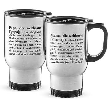 Henkel Isolierbecher weiß 0,4 Liter 2er Pack Trinkbecher Tasse mit Deckel