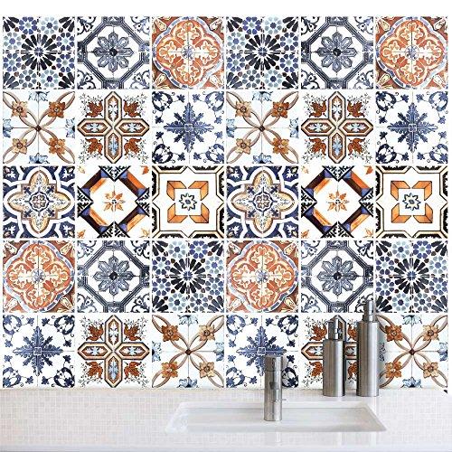 54 (Piezas) Adhesivo para Azulejos 10x10 cm - PS00001 - Azulejos fantasía - Adhesivo Decorativo para Azulejos para baño y Cocina - Stickers Azulejos - Collage de Azulejos