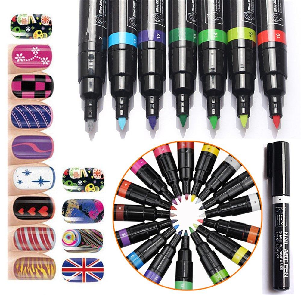 Joyeee Uñas de Arte Conjunto de Plumas de Colores 16 – Kit de Manicura Ideal para Cosmética DIY Uñas Decoraciones