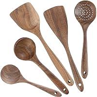 Lot de 5 ustensiles de cuisine en bois - Anti-rayures et résistants à la chaleur - Pour poêles anti-adhésives