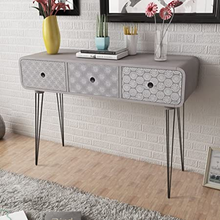 Anself Shabby Chic Console Table Side Cabinet 3 Drawers For Living Room  Hallway Furniture Grey: Amazon.co.uk: Kitchen U0026 Home