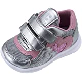 CHICCO CALZATURE Sneakers Primi Passi Bambina Colore Argento e Rosa Chiusura Doppio Velcro Scarpa Gildina Tomaia 70% Poliuret