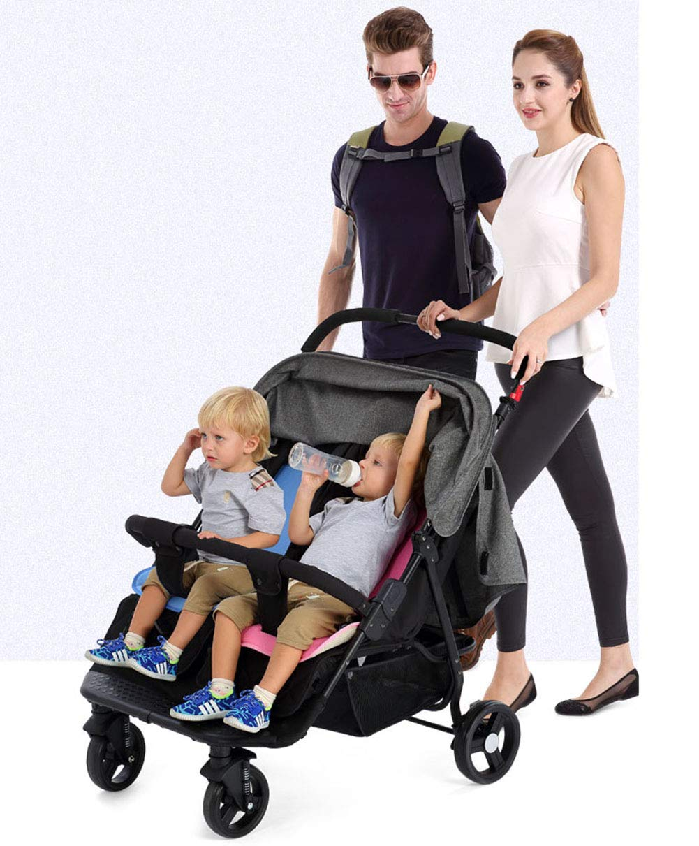 XUE Baby stroller, multi-function twins double foldable to lie flat with 5-Point Safety System and Multi-Positon Reclining Seat Extended Canopy Easy One Hand Fold XUE ∵ Wipeable and washable design for easier cleaning. ∵ Convertible high chair becomes booster and toddler seat. ∵ Keeps little ones secure with 3-point and 5-point harnesses. 2