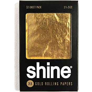 Shine 24K Gold Rolling Papers 1 25 Size - 12 Sheet Party Pack