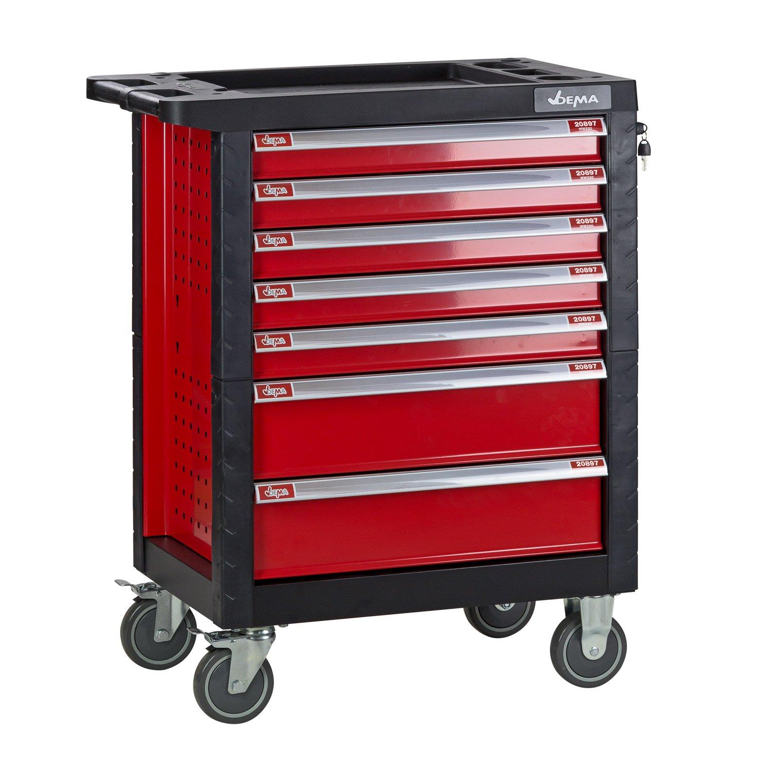 DEMA Werkstattwagen Carlos (921851-20897), 7 Schubladen, abschließbar, rot