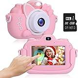 2NLF Macchina Fotografica Bambini Touch Screen IPS HD da 3,0'' Fotocamera per Bambini 30MP 1080P Custodia Protettiva in Silic