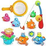 LEADSTAR Juguetes de Baño para Bebé,15PCS Juguetes Bañera Flotante con Juegos de Pesca para Bebe Niños Agua Piscina Baño Play