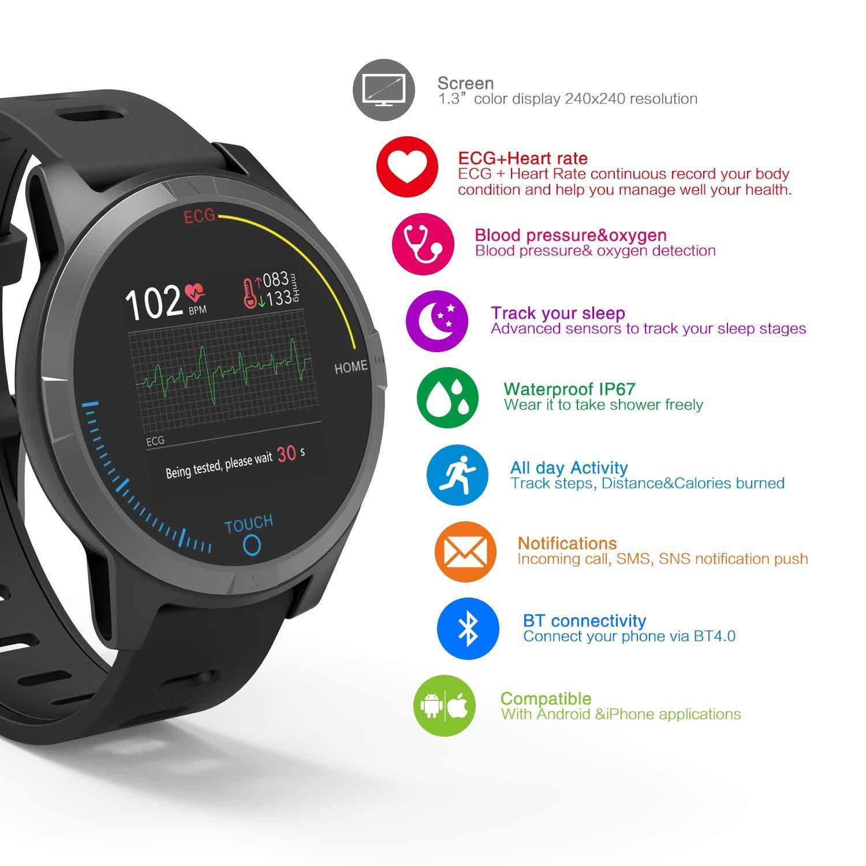 PRIXTON – Reloj Inteligente Smartwatch para Android e iOS con Electrocardiograma, Presión en Sangre, Pulsometro…