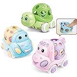 لعبة دفع سيارة رتل رول ناعمة للأطفال الرضع والبنات والأولاد الصغار، 3 قطع، شاحنة كهربائية الاحتكاك، هدية تعليمية للأطفال بعمر