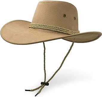 UltraKey Cowboy Hat, Sun Hat Faux Felt Leather Suede Travel Cap Western Hat Outdoor Sun Protect