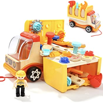 Toddler Tools Kit Set Toys For 3 Year Old Boys Birthday Gifts Wooden Truck With Folding