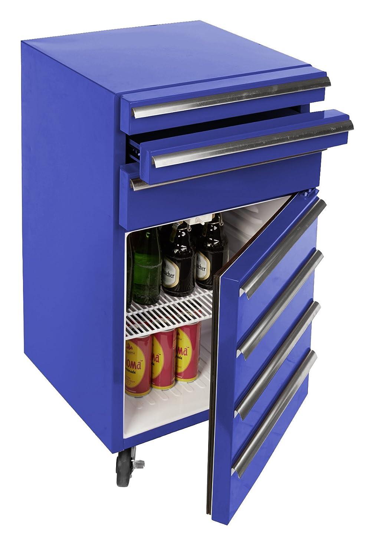 Mini-Kühlschrank für Getränke im retro Werkstattwagen-Look   blau ...