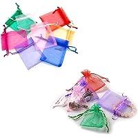 JZK 100 x Colorati 7x9cm sacchetti coulisse organza portaconfetti sacchettini portariso bomboniere per matrimonio…