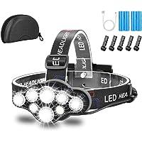 Lampe Frontale,Super Brillante Lampe à 8 Del de 18000 Lumens,Rechargeable USB Imperméable réglable pour Le Camping, la…