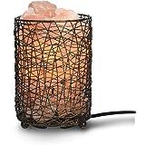 Navaris Lampe en Cristal de Sel de l'Himalaya avec Panier - Lumière Ambiance Apaisante avec Variateur pour Table de Chevet - Lampe Pierre Naturelle