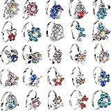 20 anelli per bambine, con graziosi fiori e animaletti, color argento, con strass, regolabili, regalo di compleanno per bambi