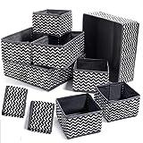 Evance 10Pcs Boîtes de Rangement Ouvertes en Textile Non-Tissé, Tiroir en Tissu,Cube de Rangement Pliable Coffre pour Soutien
