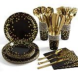 مجموعة لوازم الحفلات الذهبية من 175 قطعة، اواني المائدة الورقية للاستعمال مرة واحدة 25 اطباق ورقية منقطة ذهبية مع مجموعات ادو