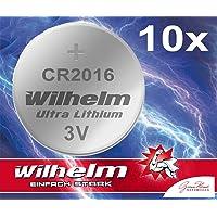 10 x Knopfzelle CR2016 Wilhelm Batterie Lithium 3V CR 2016 Industrieware…