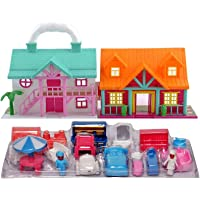 JOY STORIES® Doll House for Kids Girls, Pretend Role Play Family Home Toy Set, Doll House Play Set with Double Sided…