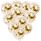 12 PCS Gold Confetti Balloons Bulk, 12 inches Giant Metallic Confetti Filled Round Balloon Set, for Party, Wedding, Birthday