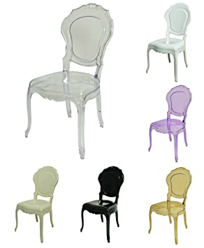 Clear Glamour Design Chair, Armchair Designer Modern Style Louis (black)