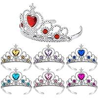 REYOK 7pcs Girls Princess Tiara Crown Set Kids Dress up Party Accessories (Aqua Blue+Royal Blue+ Purple+ Rose Red +Pink +Yellow+Red)