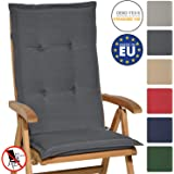 Beautissu Hochlehner Auflage Loft HL 120x50x6cm Sitzkissen Rückenkissen Hoch Stuhlkissen mit Schaumkern-Füllung Graphit…