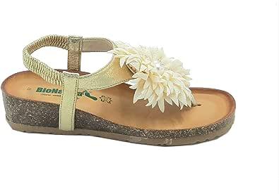 BioNatura Sandalo ANATOMICO Infradito 12Palma Oro e Beige Made in Italy