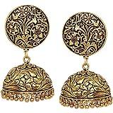 OranGey Fashion Afghani Mirror Oxidised Silver Gold ChandBali Jhumka for Women and Girls