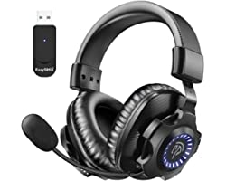 LISHIVE Cascos Gaming Inalámbricos, [Regalos] 2.4G Auriculares Gaming Inalámbricos Estéreo, Cascos Gaming PS4, PC con Microfo