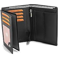 """Fa.Volmer Portafoglio nero in vera pelle in formato verticale - PROTEZIONE RFID - del modello Ph3"""""""