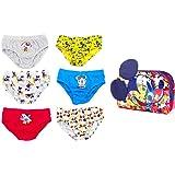 Disney Mickey Mouse Calzoncillos para Niños, Pack Múltiple de 6 Calzoncillos, 100% Algodón Suave, Conjunto de Ropa Interior,