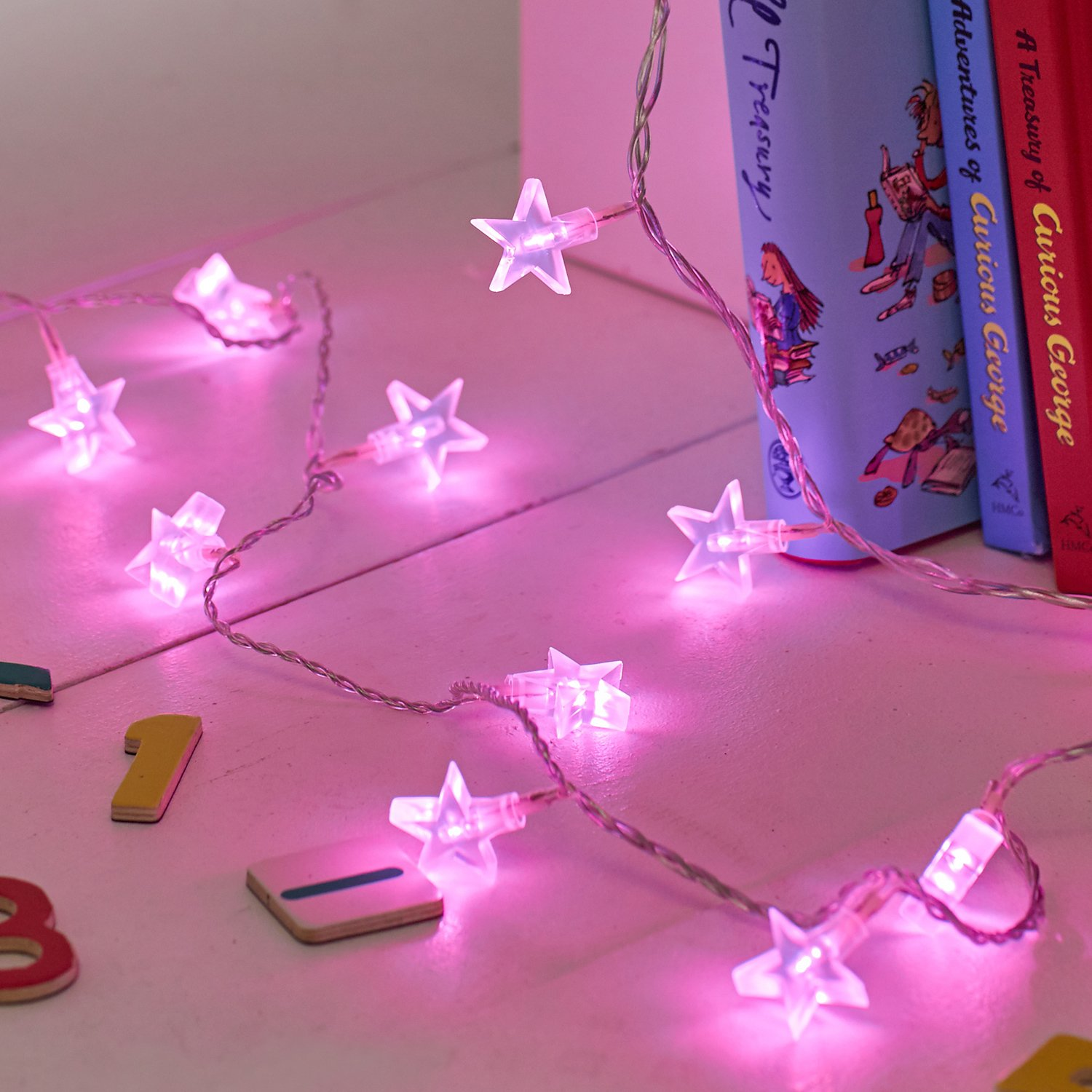 Indoor Star Fairy Lights With Pink LEDs By Lightsfun Amazon - Star lights in bedroom