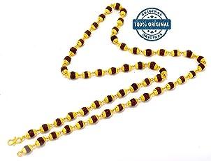 Charms Rudraksha Mala 28 Inch Premium 18K Yellow Gold Plated Copper Mala