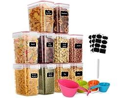GoMaihe 1.6 Liter Voorraaddozen 10 Stuks, Opbergdoos, Keuken, Luchtdicht, Plastic met Deksel, Voorraadpotten voor Het Bewaren