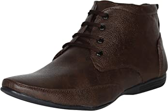 Emosis Men's Stylish 0131 Tan Brown Black Colour Office Party Wear Formal Lace-up Derby Boot Shoe