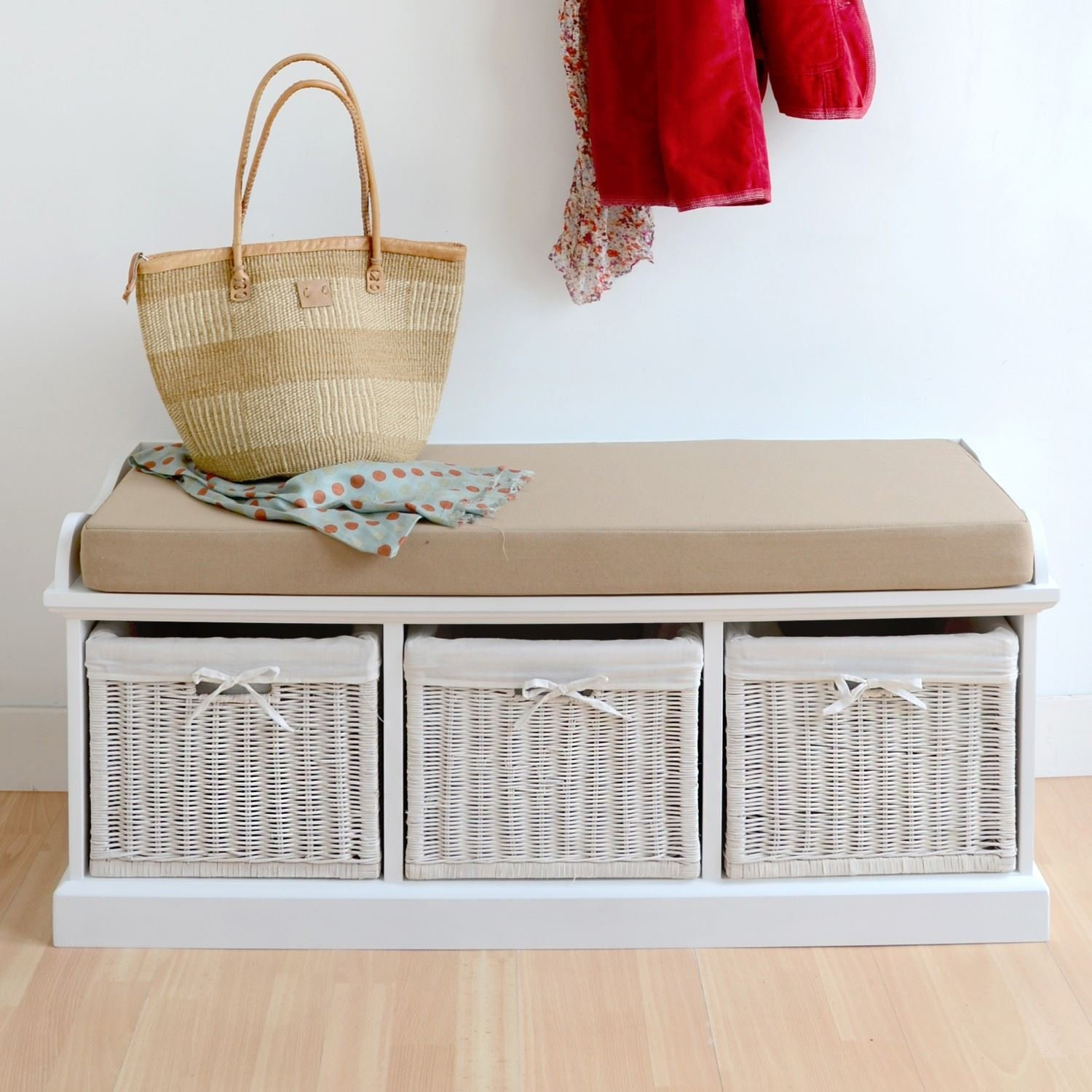 cushion storage bench tetbury grey storage bench with 3 white baskets lovely matte grey