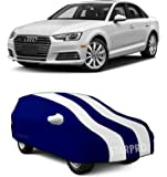 NEXTON Presents Semi-Waterproof Polyester Fabric Car Body Cover Compatible with Audi A4 (with Mirror_White Stripes)