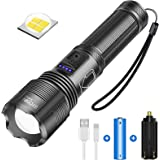 Linternas Led Superbrillantes 5000 Lúmenes, Antorcha LED Recargable con USB, IPX4 Impermeable, 5 Modos de Luz Linterna con Zo