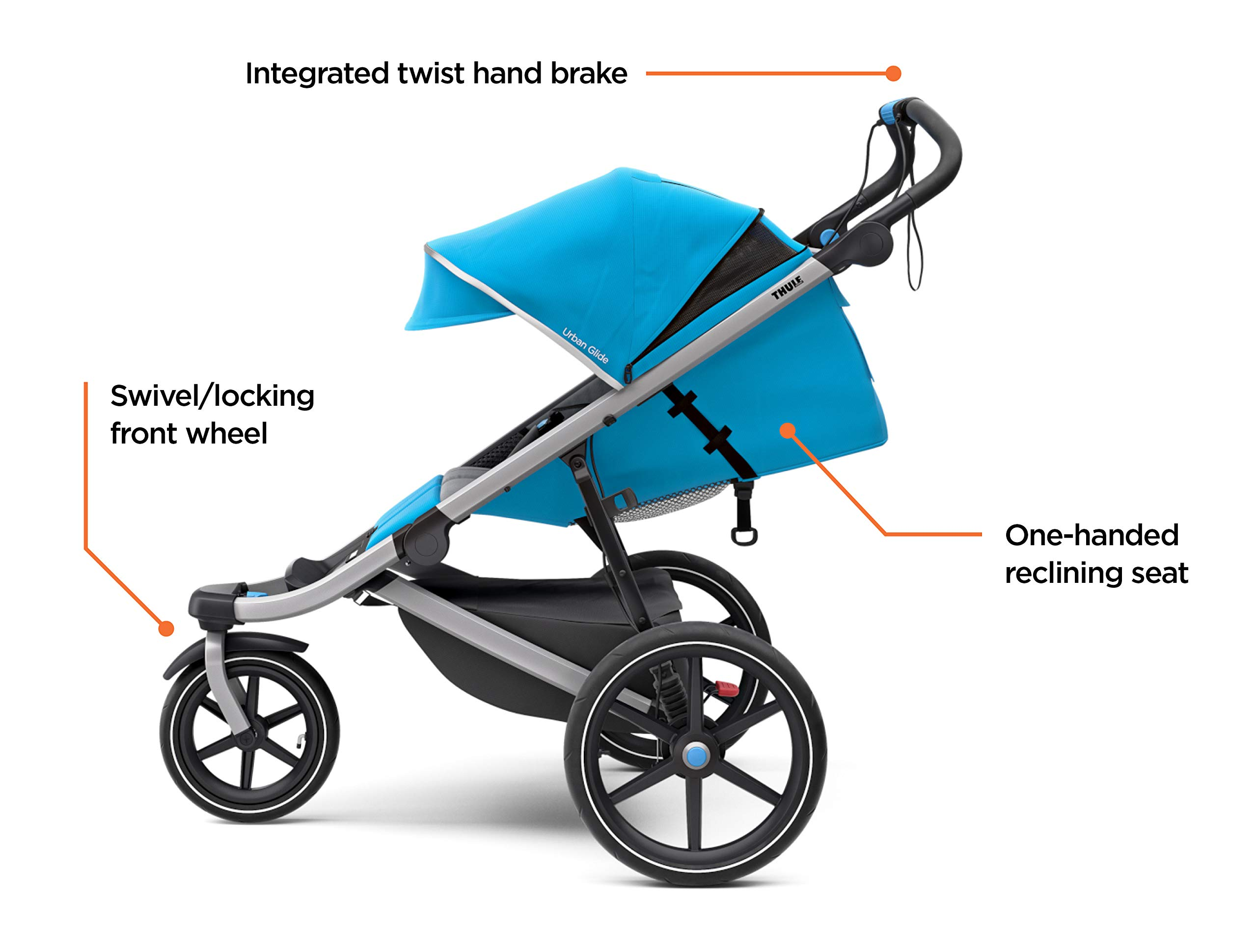 Thule Urban Glide 2.0 Jogging Stroller (Thule Blue w/Silver Frame) Thule One-handed, compact fold for easy storage and transportation Integrated twist hand brake provides speed control on hilly terrain Multi-position canopy with side-ventilation windows ensures your child is comfortable 3